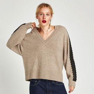 Zara V-neck sweater with contrasting lace